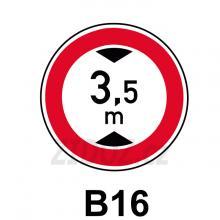 B16 - Zákaz vjezdu vozidel, jejichž výška přesahuje vyznačenou mez