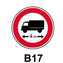 B17 - Zákaz vjezdu vozidel nebo souprav vozidel, jejichž délka přesahuje vyznačenou mez