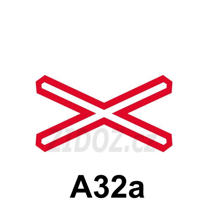 A32a - Výstražný kříž pro železniční přejezd jednokolejný