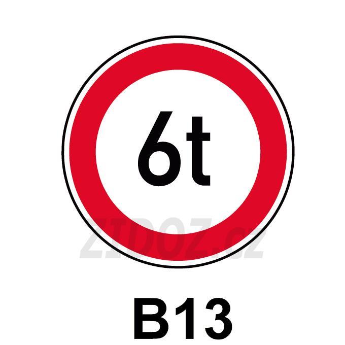 B13 - Zákaz vjezdu vozidel, jejichž okamžitá hmotnost přesahuje vyznačenou mez