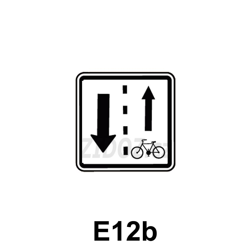 E12b - Vjezd cyklistů v protisměru povolen (umisťuje se ke značce B2)