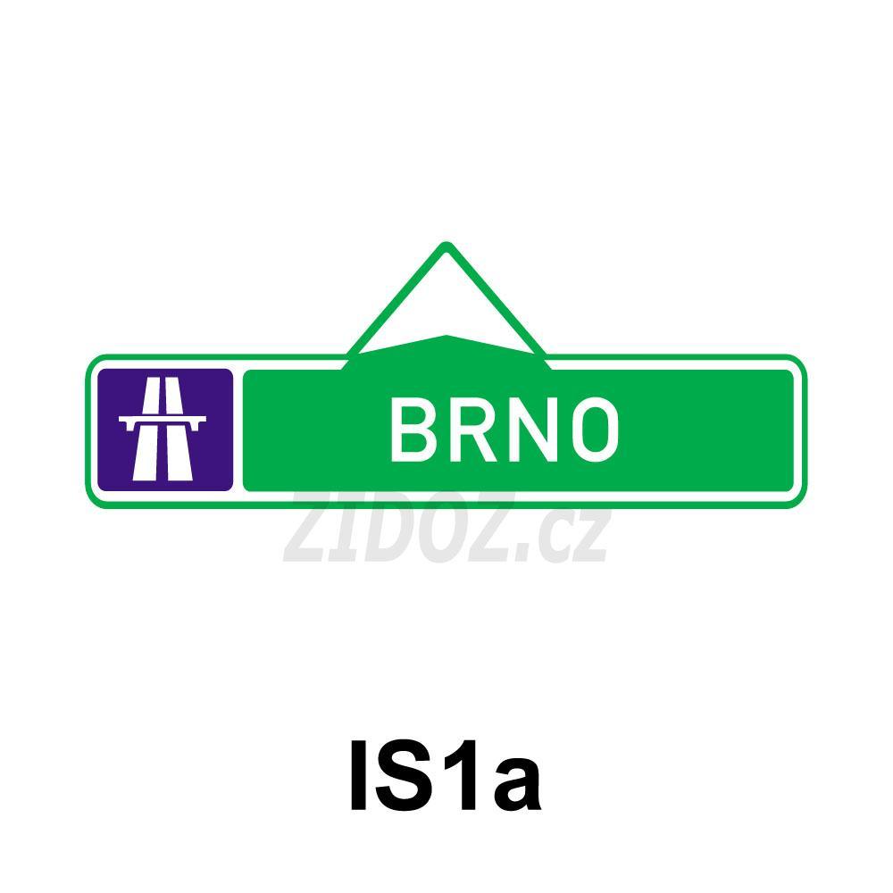 IS01a - Směrová tabule pro příjezd k dálnici (s jedním cílem)