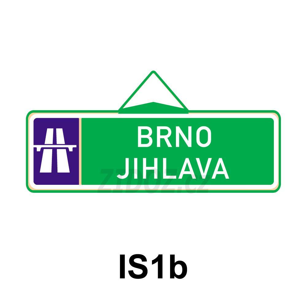 IS01b - Směrová tabule pro příjezd k dálnici (s dvěma cíli)