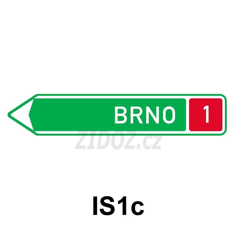 IS01c - Směrová tabule pro příjezd k dálnici (s jedním cílem)