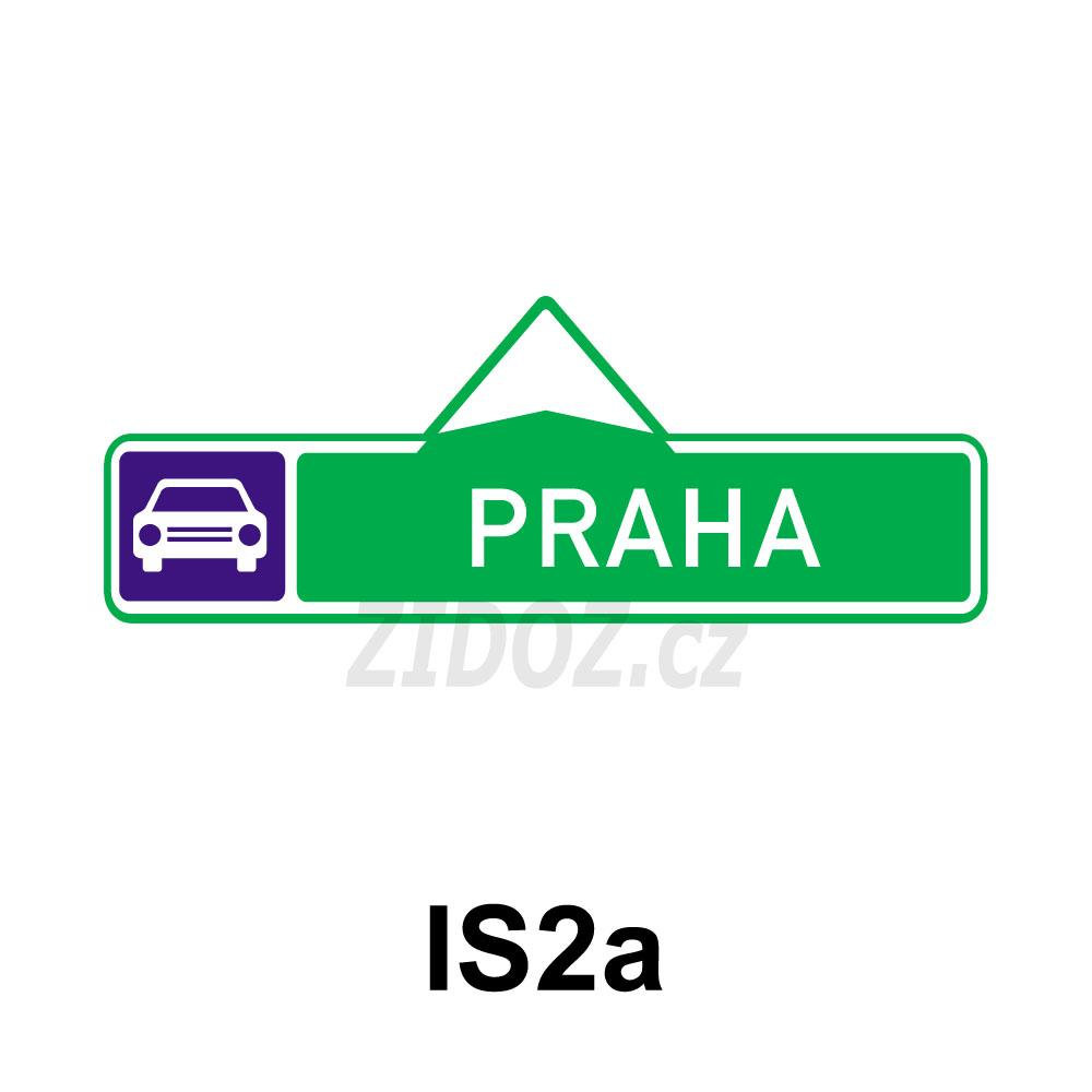 IS02a - Směrová tabule pro příjezd k silnici pro motorová vozidla (s jedním cílem)