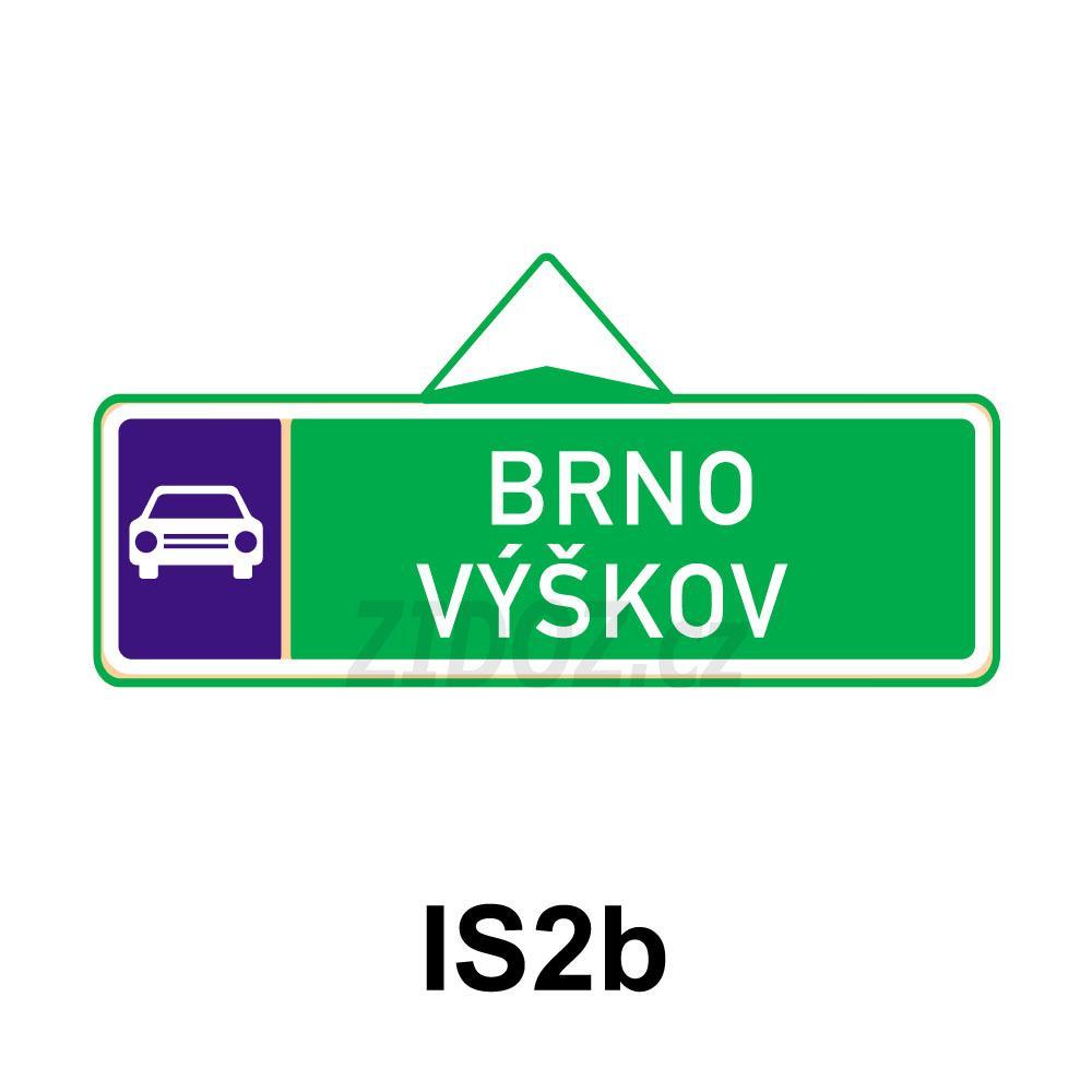 IS02b - Směrová tabule pro příjezd k silnici pro motorová vozidla (s dvěma cíli)