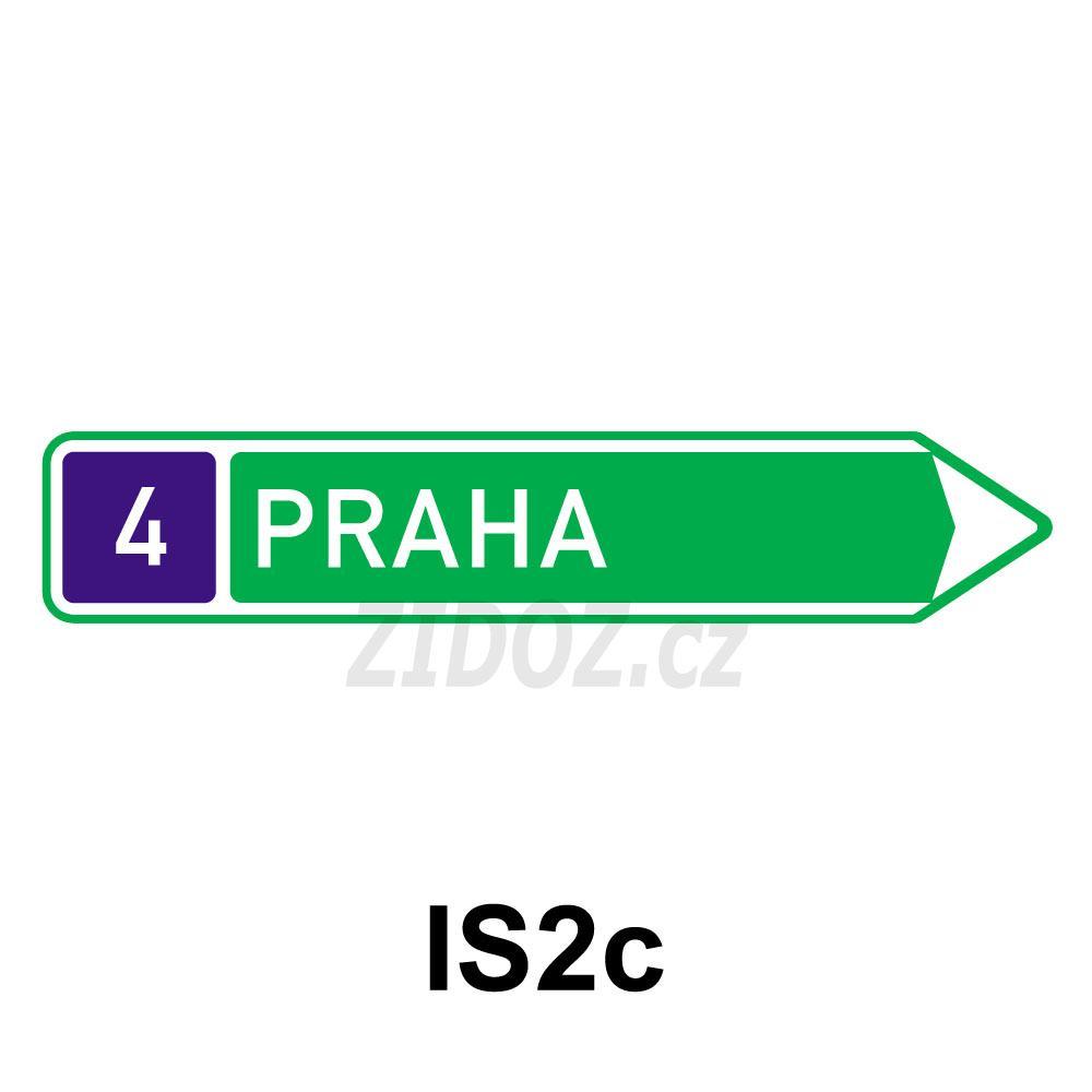 IS02c - Směrová tabule pro příjezd k silnici pro motorová vozidla (s jedním cílem)