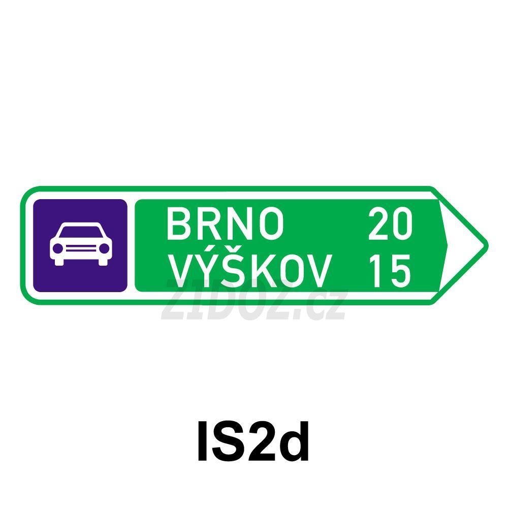 IS02d - Směrová tabule pro příjezd k silnici pro motorová vozidla (s dvěma cíli)