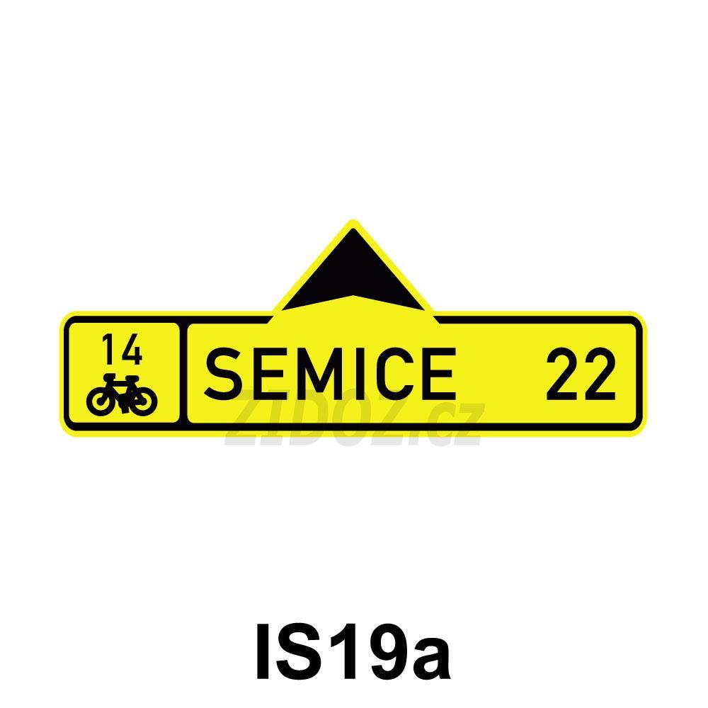 IS19a - Směrová tabule pro cyklisty (s jedním cílem)