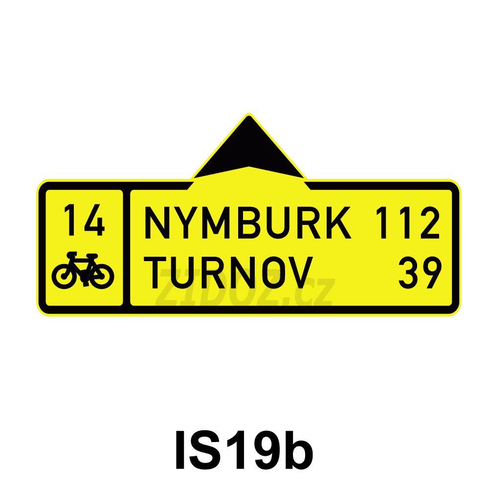 IS19b - Směrová tabule pro cyklisty (s dvěma cíli)