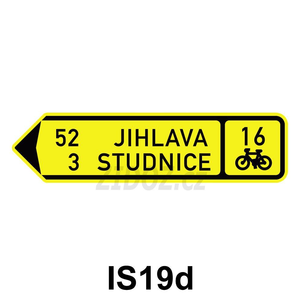 IS19d - Směrová tabule pro cyklisty (s dvěma cíli)